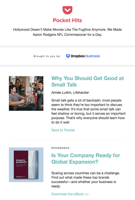 Dropbox_Sponsored Newsletter_Example