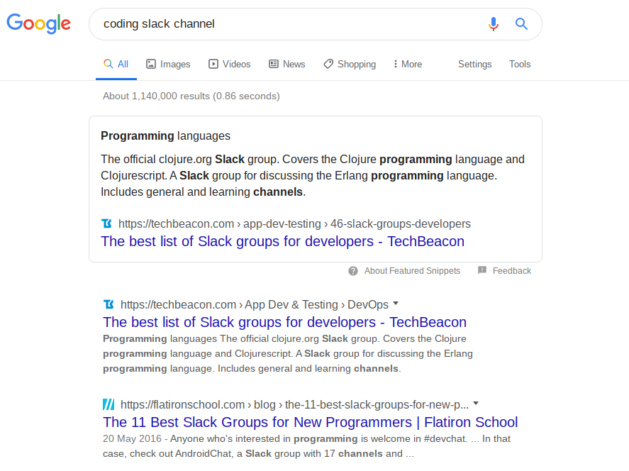 coding slack channel