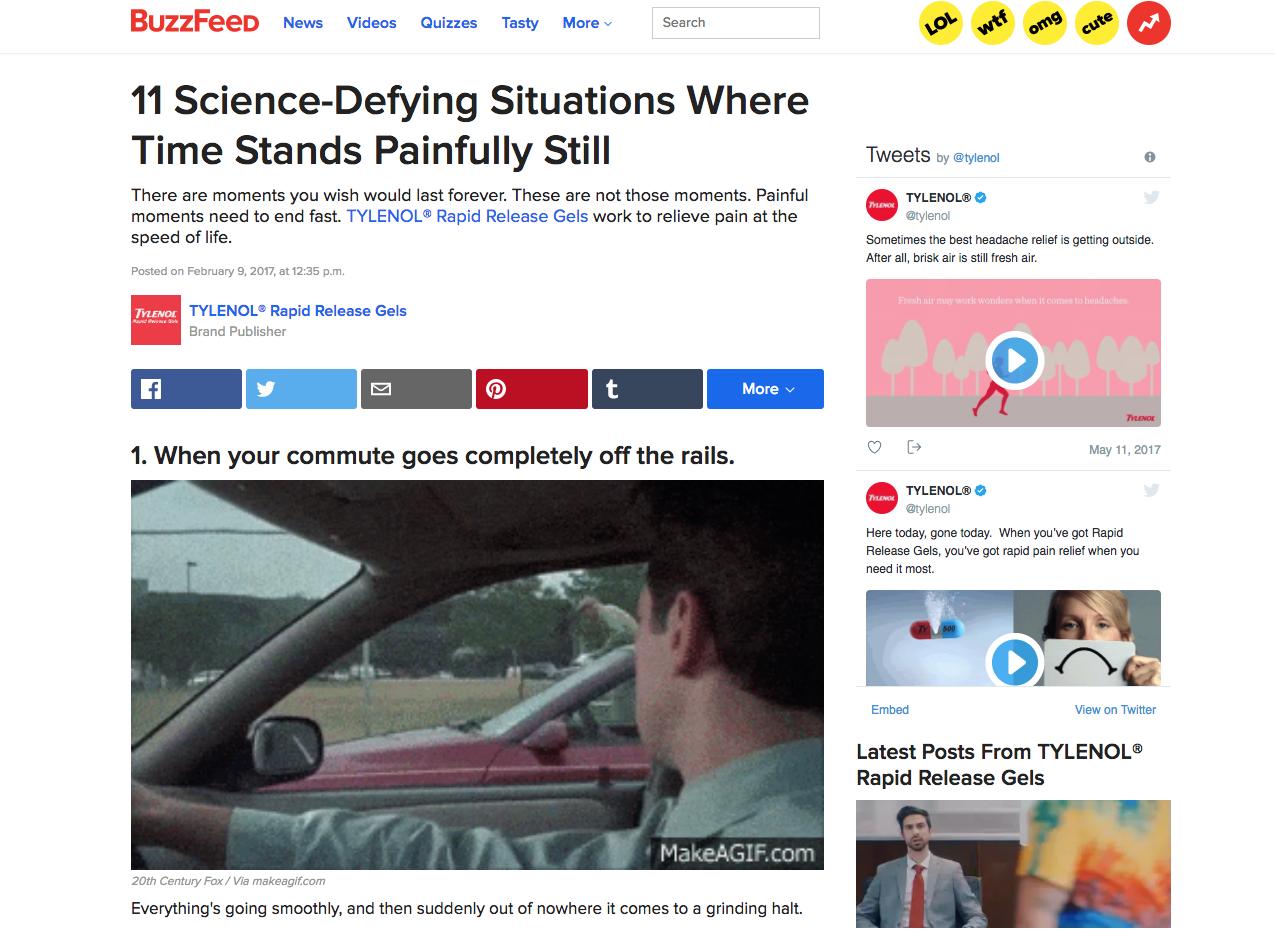 Advertorial example in Buzzfeed