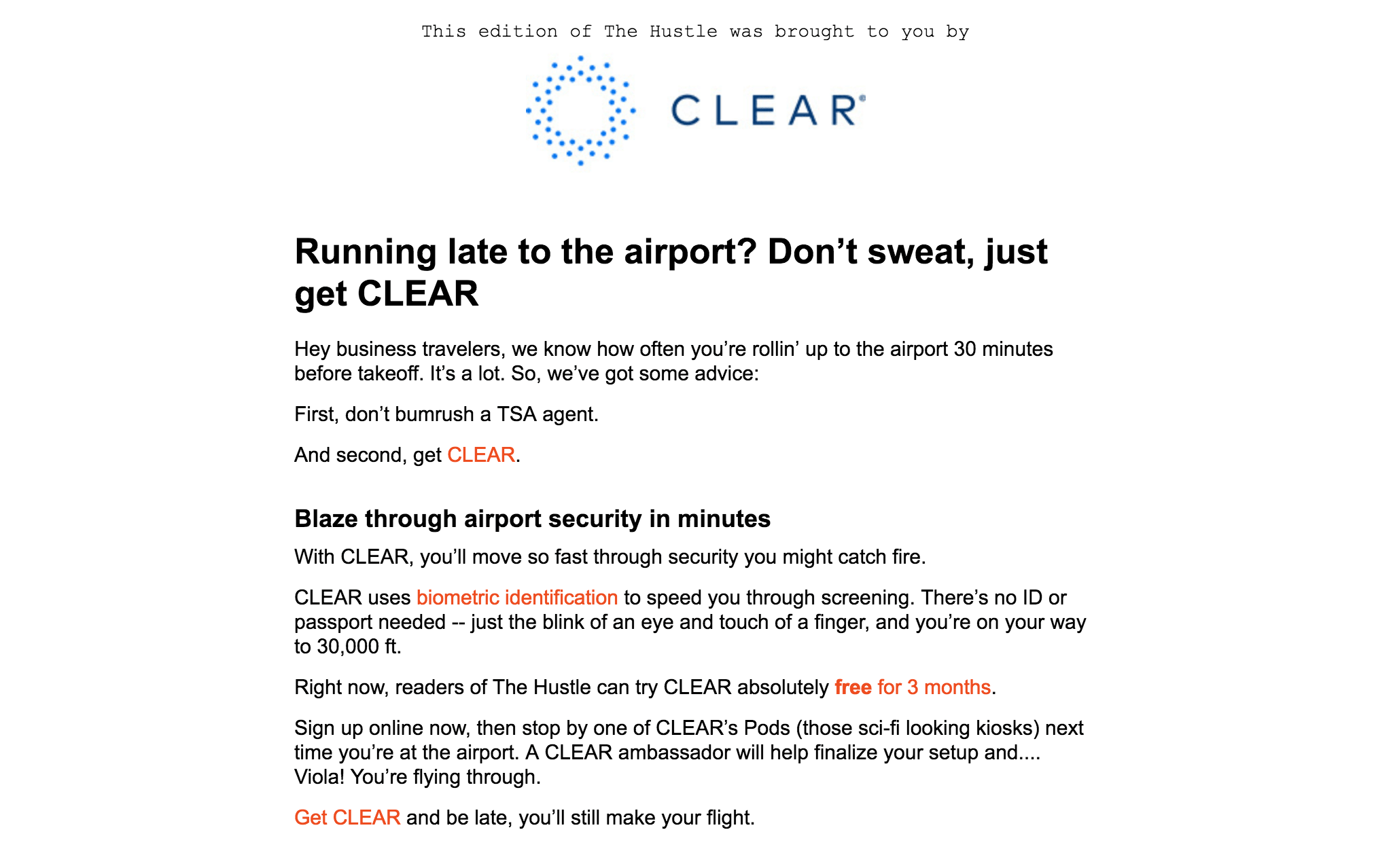 CLEAR's email sponsorship in The Hustle.