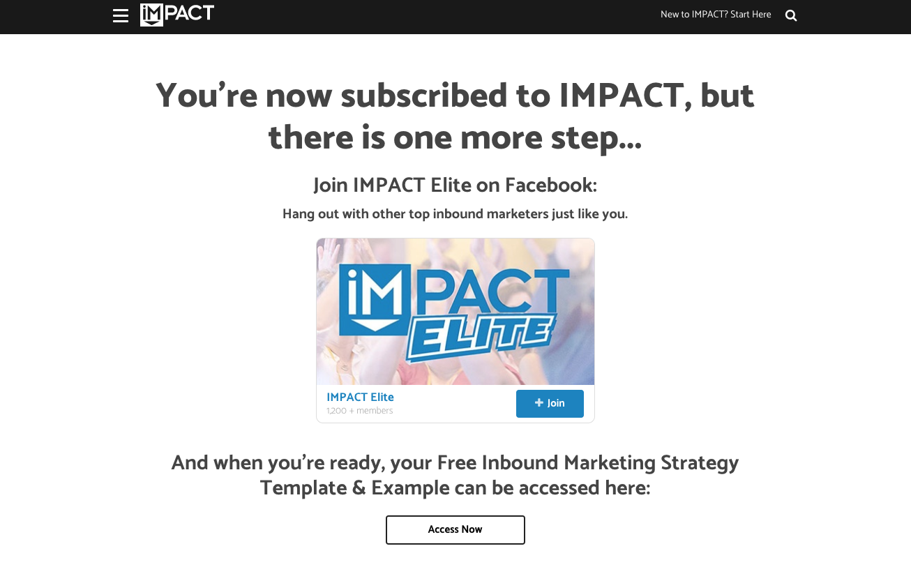 Screenshot of Impact Thank You page with link to subscribe to Facebook group.