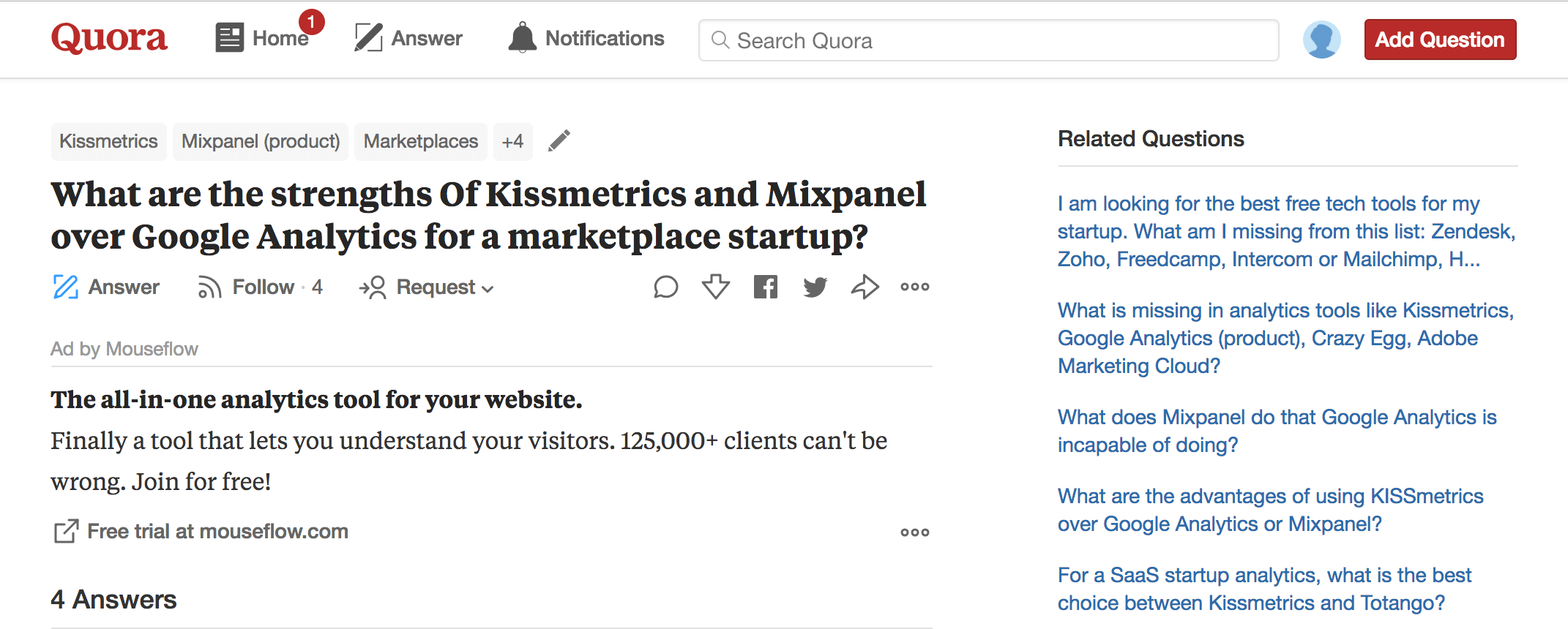 Mouseflow ad on Quora post