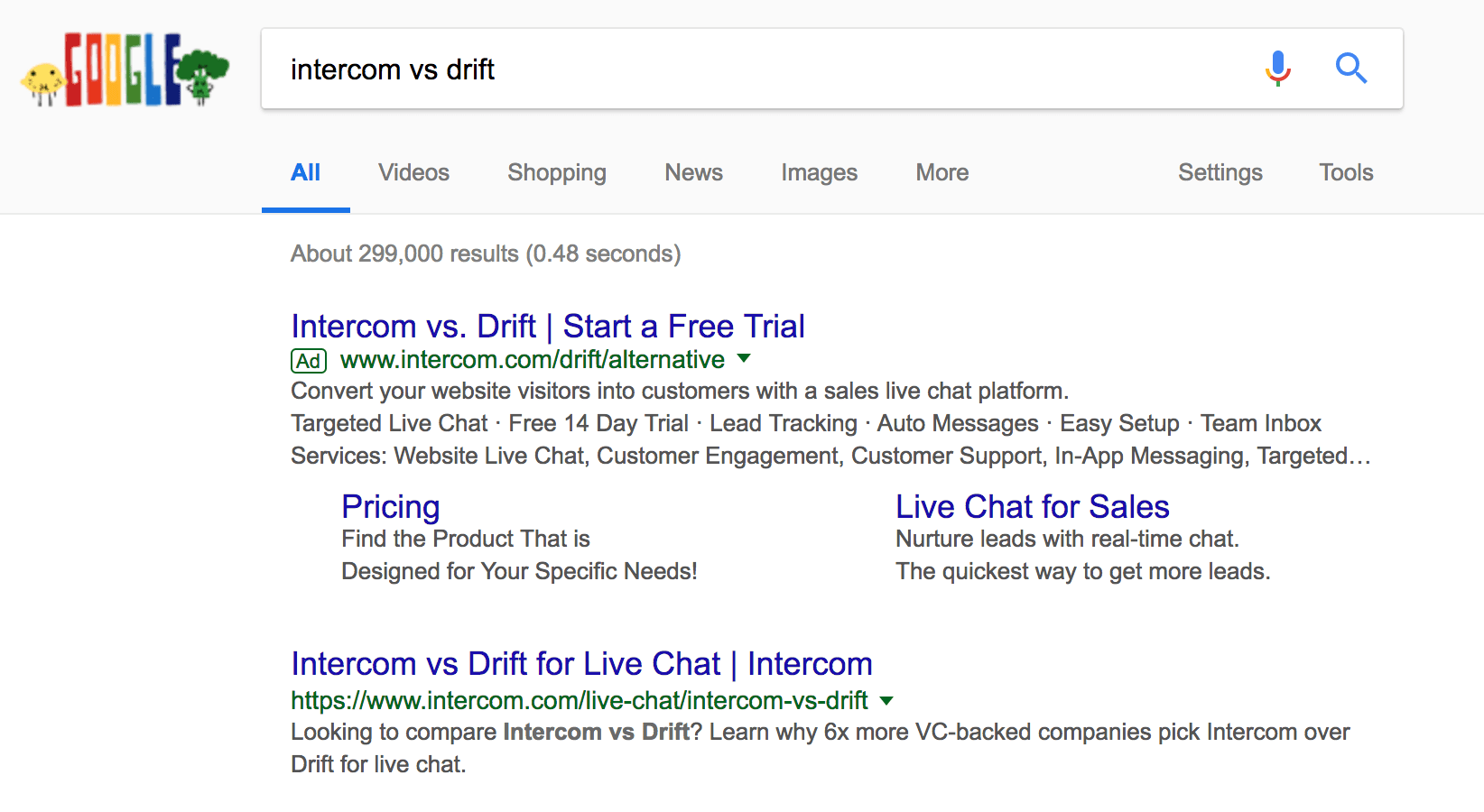 Search engine results for Drift vs Intercom