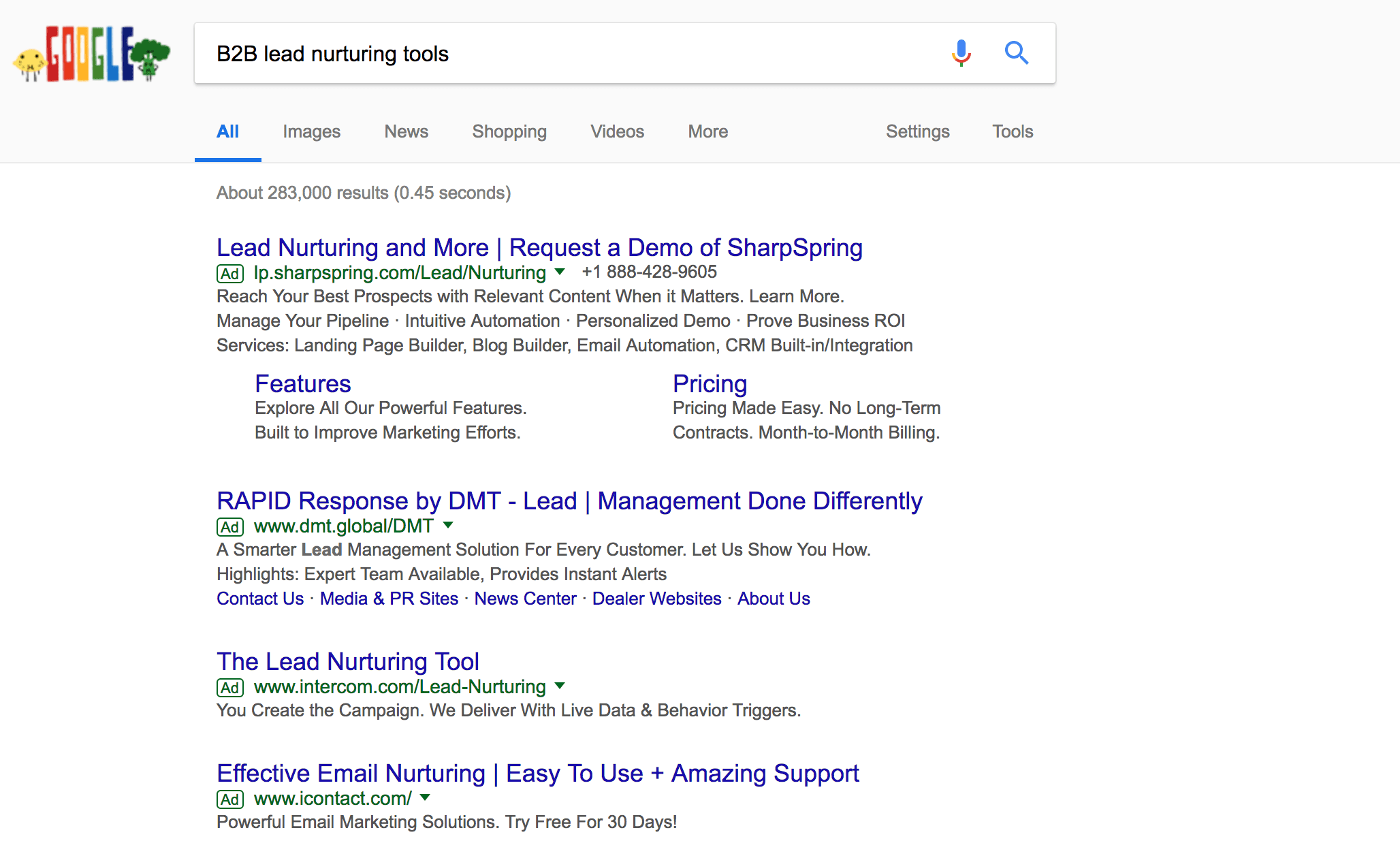 "Search engine results for ""B2B Lead Nurturing Tools"""