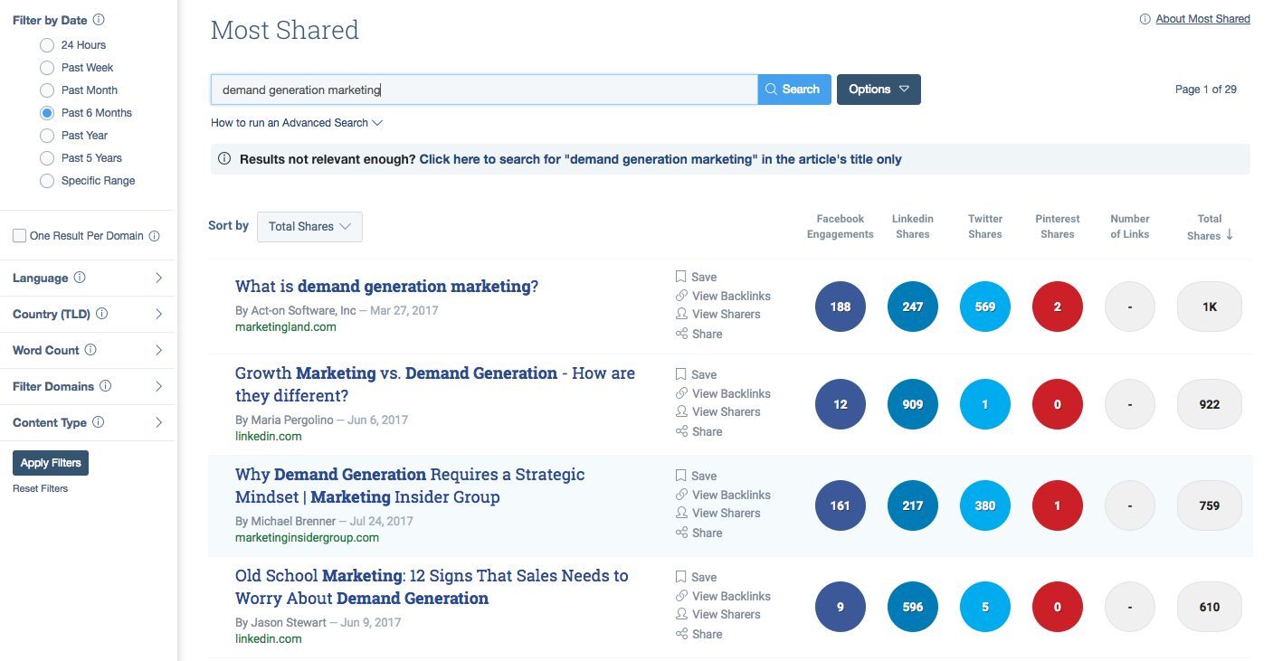 BuzzSumo is a demand generation tool for content discovery.