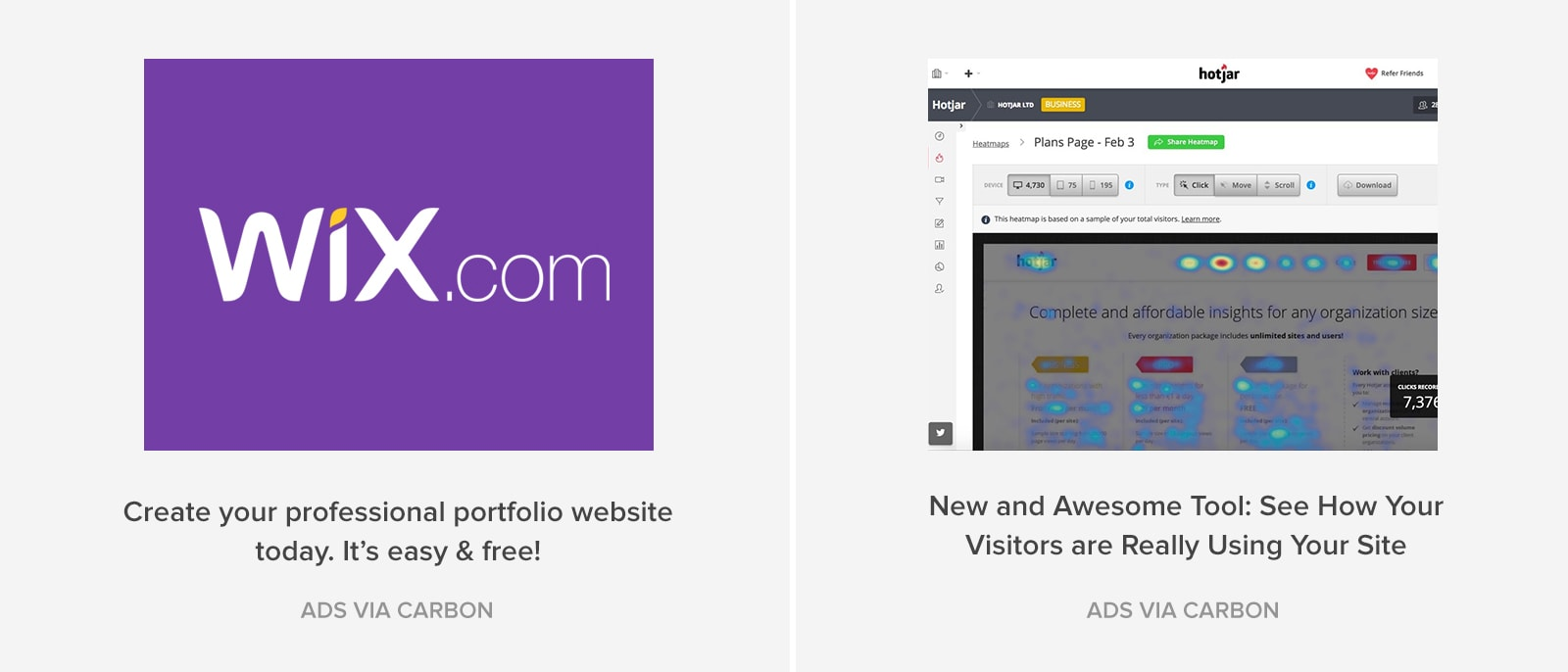 Carbon ads from Wix and Hotjar.