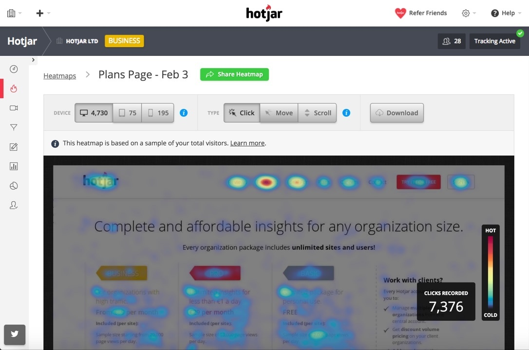 Hotjar is a demand generation tool that shows what visitors do on a website.