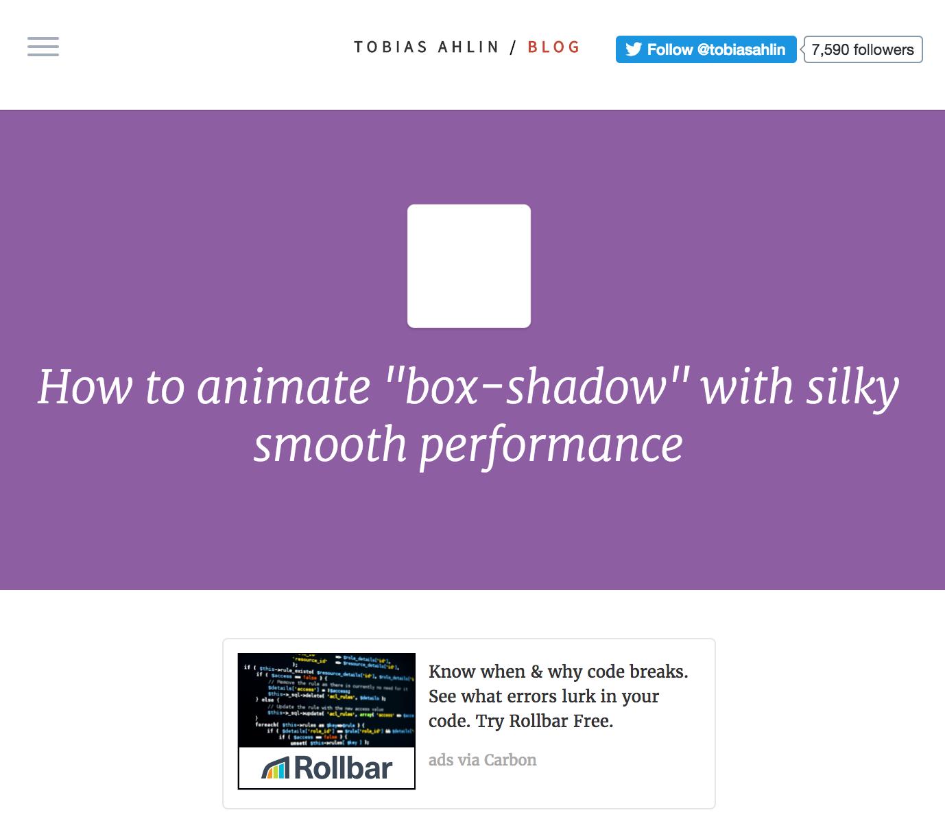 Rollbar ad on Tobias Alhin blog