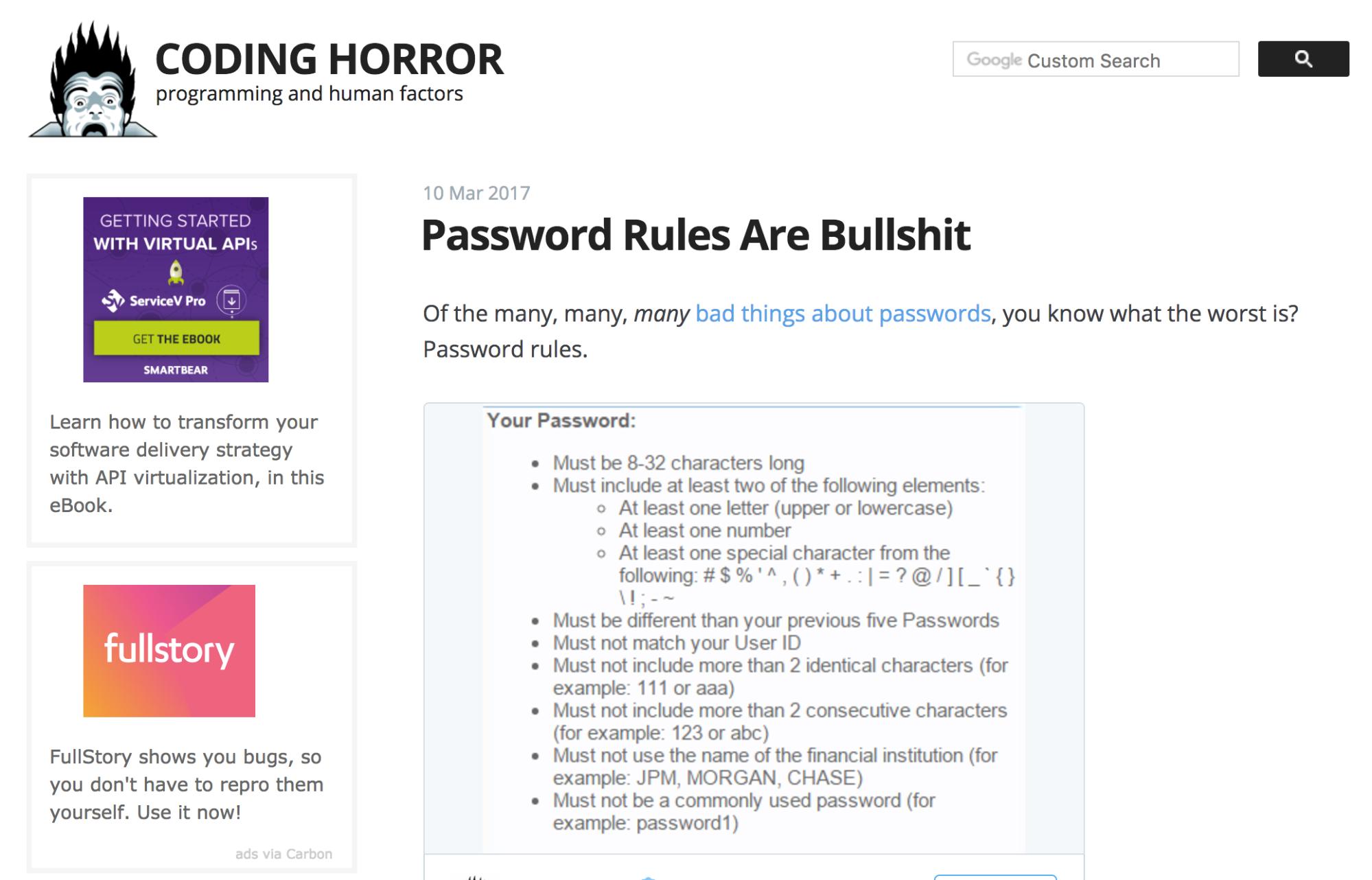 FullStory ad on Coding Horror